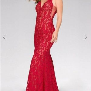 Jovani Fitted Lace Prom Dress